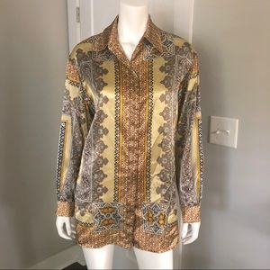 Vintage Chain Link Blouse Baroque Gold Top Shirt